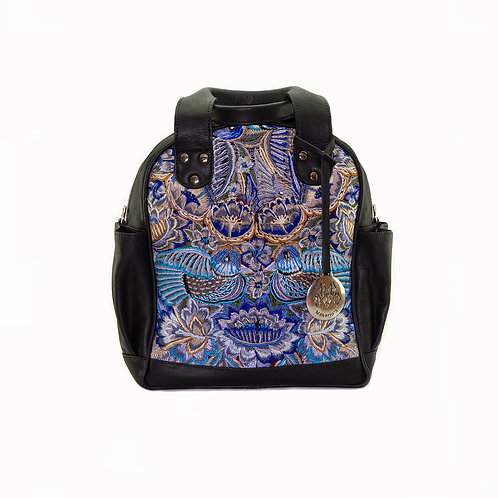 Blue Textile And Black Leather Mini Huipil Convertible Day Bag, Front View