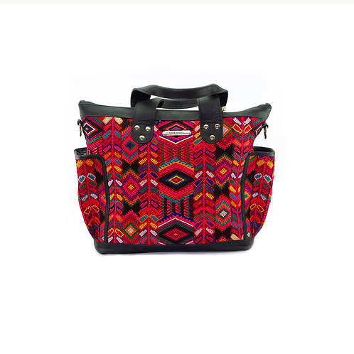 Huipil Bag With Red Geometric Textile, Front View