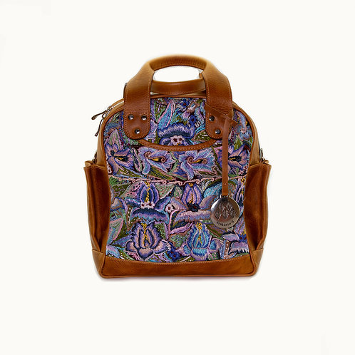 Mini Huipil Convertible Day Bag Dome Shape With Blue Textiles, Front View