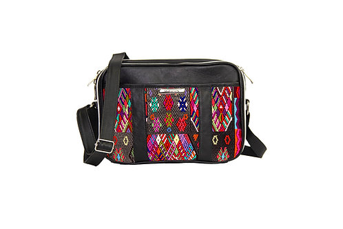 Small Huipil Bag With Black Leather And Geometric Mayan Textile, Front View