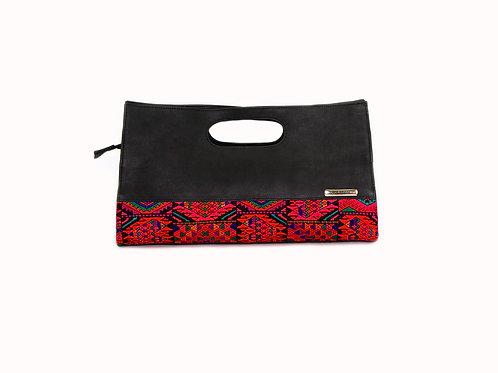 Black Leather Guatemalan handbag with Guatemalan textile and mayan symbols, front view