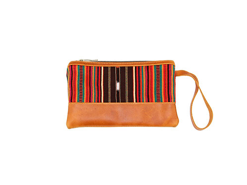 Mayan Weaving Clutch Bag with Orange Stripped Fabric and Full Grain Leather