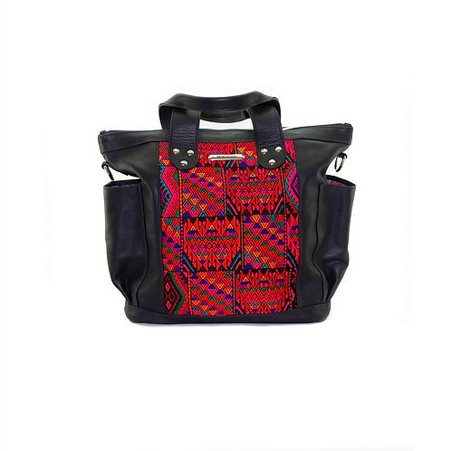 Handmade Black Leather Backpack Huipil Bag With Red Textile Front View