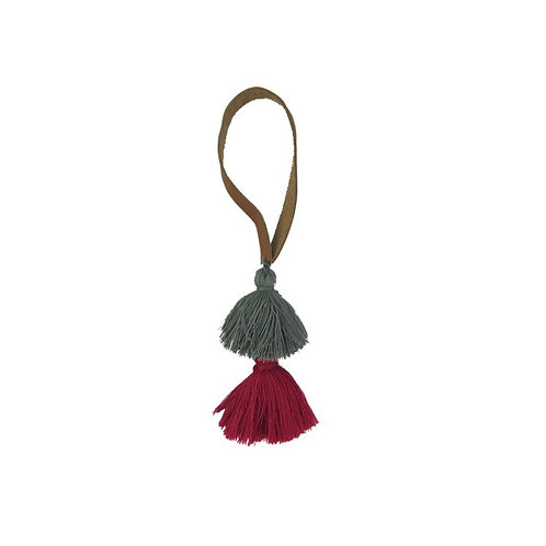 Pom Tassel With Pink and Grey Tassels And Leather Strap