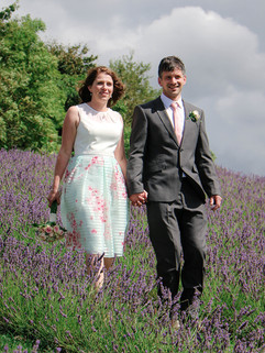 Newley weds in the Lavendar fields at Blackhorse beamish