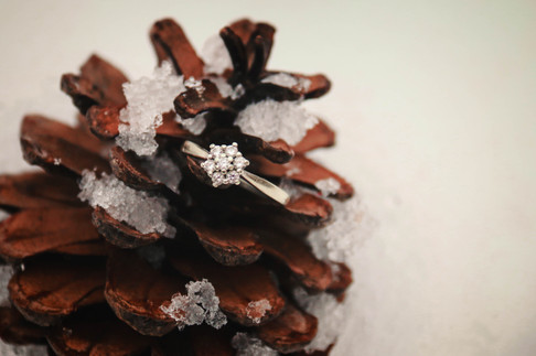 snow covered pinecone engagement ring