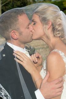Under a brides wedding viel