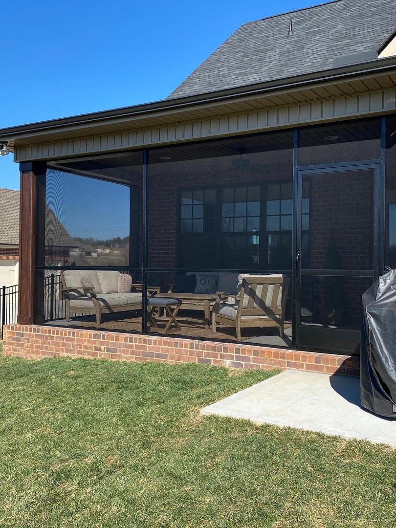 Black aluminum screen porch