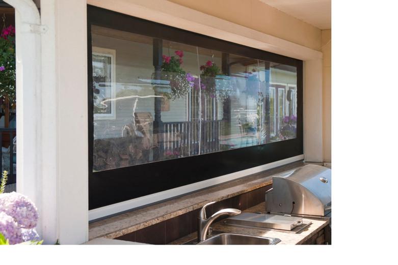 Motorized vinyl patio porch screens