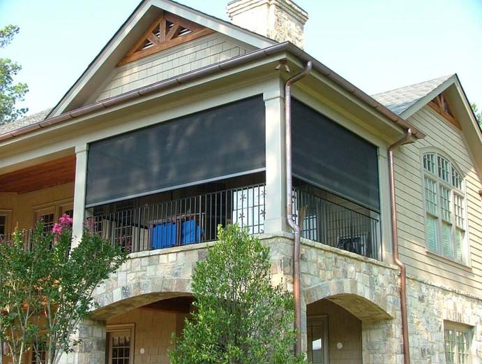 Motorized patio porch screens