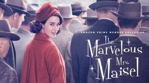"Cover of ""The Marvelous Mrs. Maisel"". A woman in a red coat and hat surrounded by men in grey jackets."