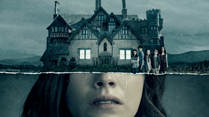 "Image from ""The Haunting of Hill House"". The bottom side of a girl's face with a tear running down it and the top is the haunted house."