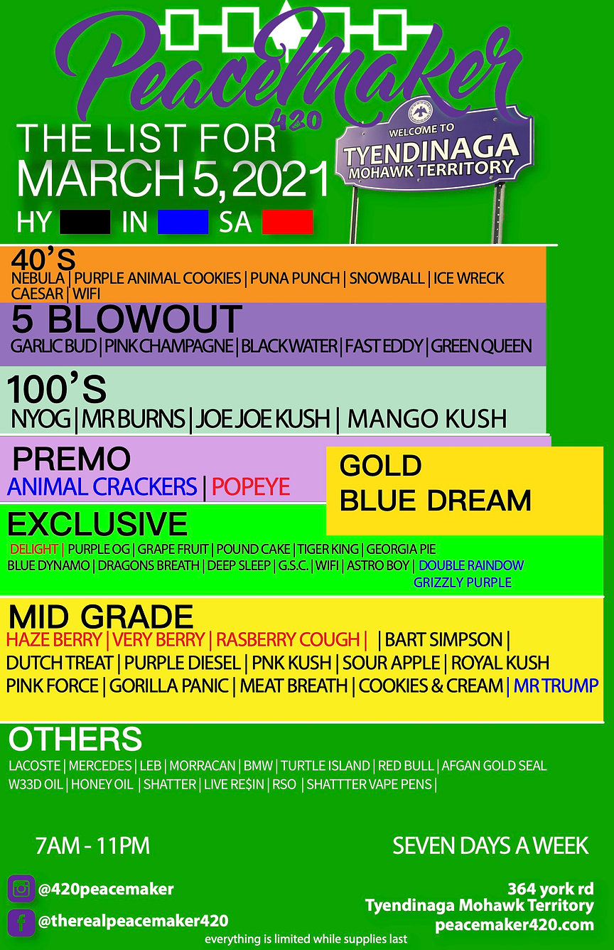 New Peacemaker Strain list (MARCH 5) cop