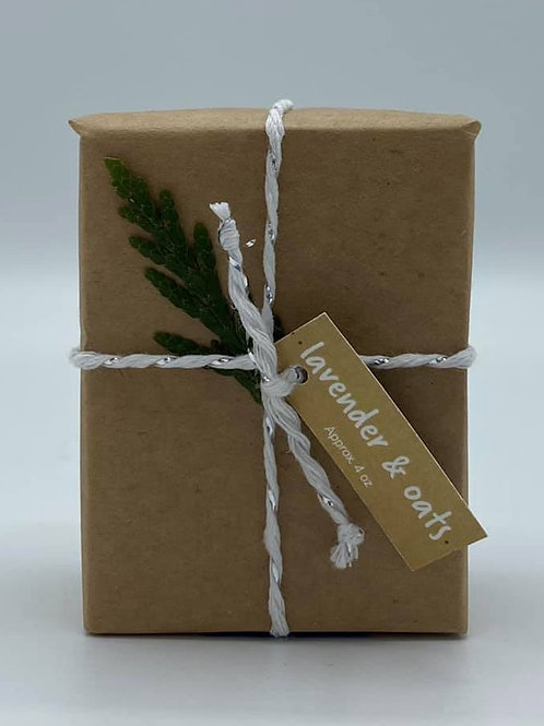 4-Ounce Paper Wrapped Lavender & Oats Soap