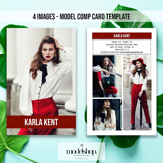 Model Comp Card - 4 images template