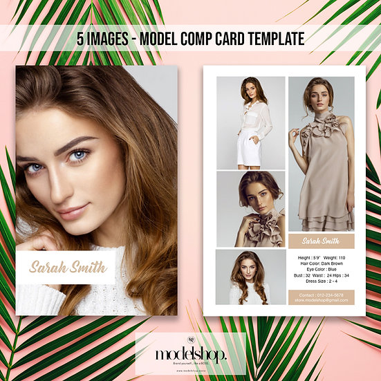 Model Comp Card - 5 images template
