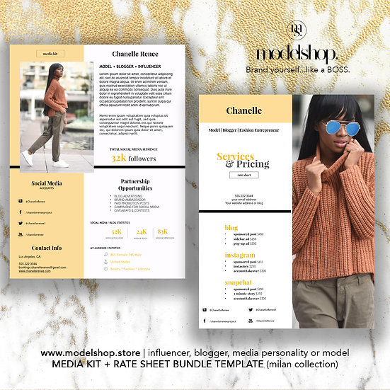 Media Kit + Rate Sheet BUNDLE for Bloggers & Influencers (Milan Collection)