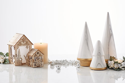Mini White Marble Christmas Tree & Wooden House on clean background