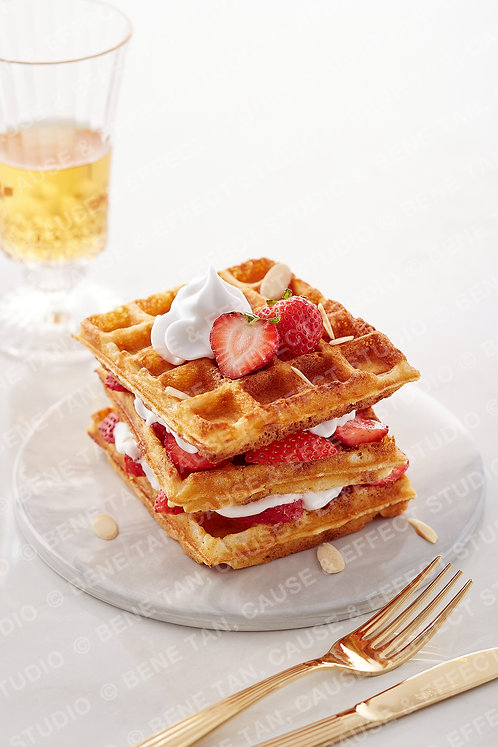 Classic Waffles with strawberries and vanilla whipped cream  - Portrait