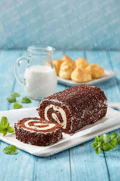 Chocolate Swiss Roll coated with Chocolate Chips