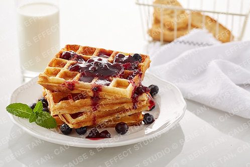 Classic Waffles with blueberries and blackcurrant jam  - Landscape