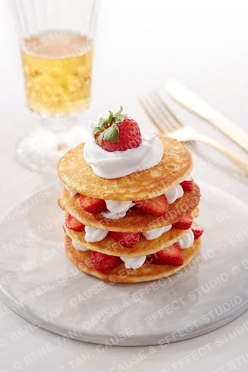Strawberries Pancakes with vanilla whipped cream  - Portrait