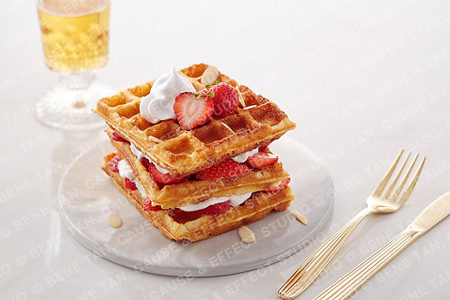 Classic Waffles with strawberries and vanilla whipped cream  - Landscape