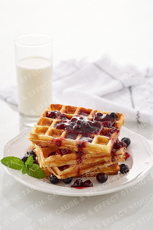 Classic Waffles with blueberries and blueberries jam  - Portrait