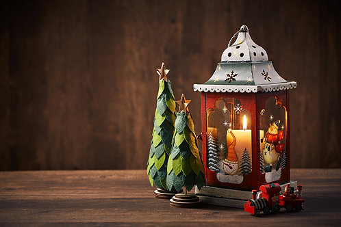 Paper Art Christmas Tree and Classic Lantern on wooden background