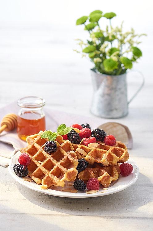 Belgian Waffles with blackberries, raspberries and almonds