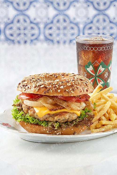 Grilled Chicken Bagel with Fries and Drink
