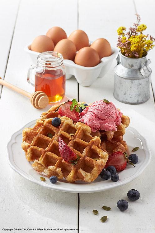 Belgian Waffles with strawberry gelato ice cream