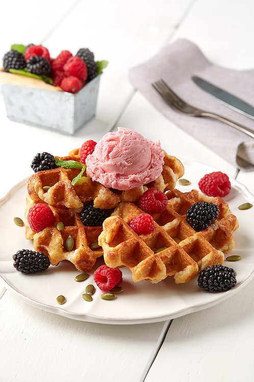 Belgian Waffles with blackberries, raspberries and strawberries ice cream