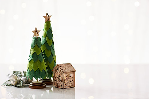Paper Art Christmas Tree with fairy light on clean background