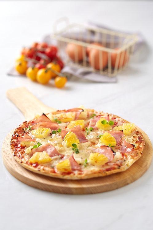Hawaiian Thin Crust Pizza on white marble top