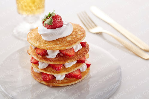 Strawberries Pancakes with vanilla whipped cream  - Landscape
