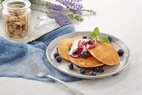 Pancakes with blueberries and greek style natural yogurt  - Landscape