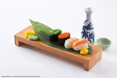 Japanese Sushi and Sake on a reflective white background