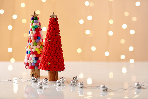 Red and Colourful Christmas Tree with fairy light on white background