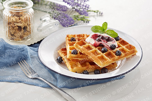 Classic Waffles with blueberries and greek style natural yogurt  - Landscape