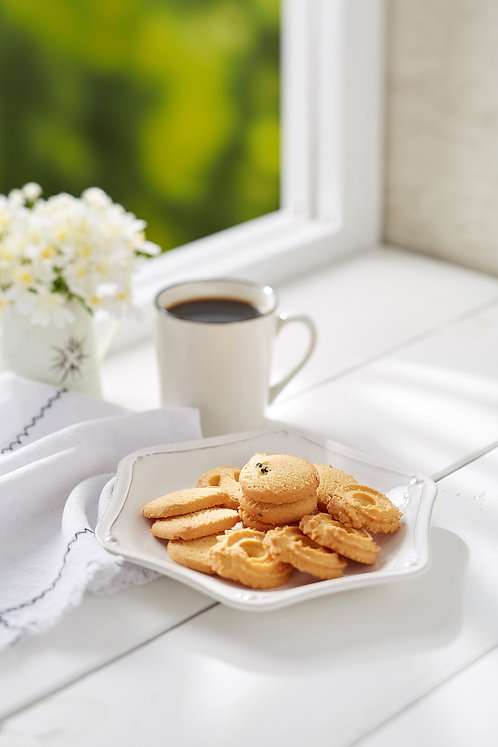 Danish Butter Cookies with coffee on white rustic wooden top ver 2