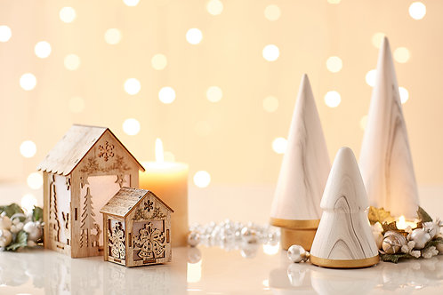 Mini White Marble Christmas Tree & Wooden House on white marble top