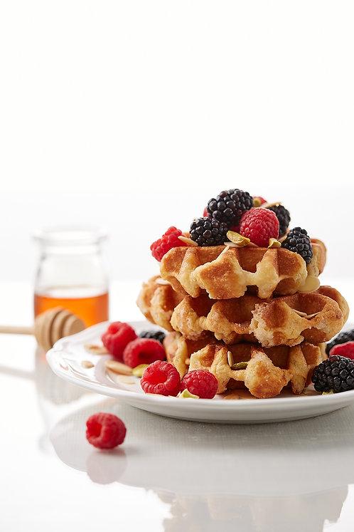 Belgian Waffles with blackberries, raspberries and almonds.