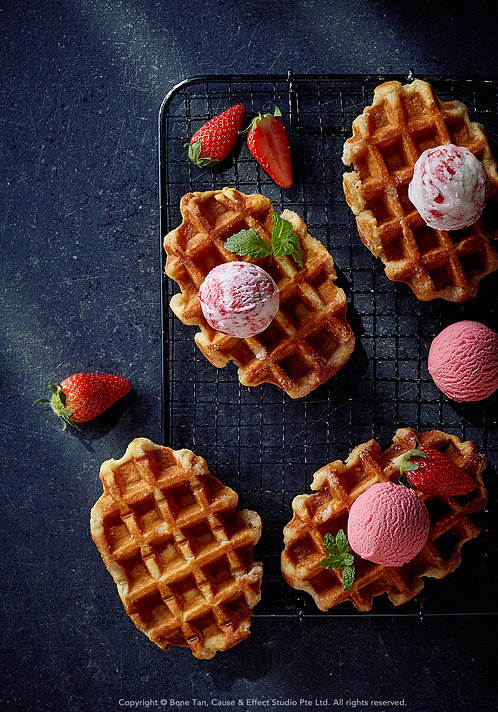 Belgian Waffles with raspberries and strawberries ice cream