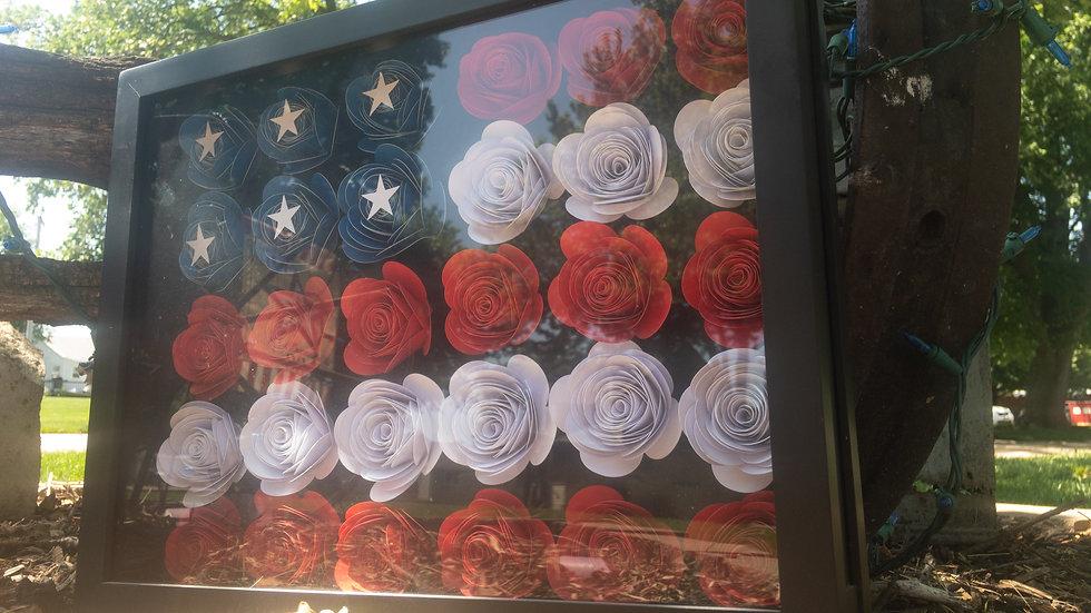 Large Flower American Flag Shadow Box