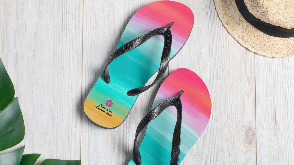 Watercolor Abstract Beach Flip-Flops