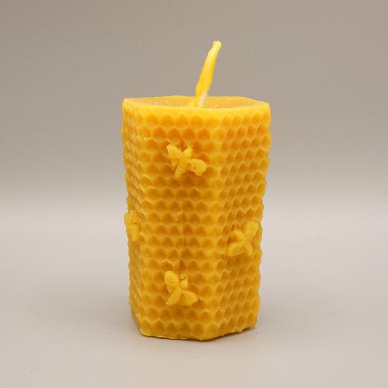 Bienenwachskerze - Stumpen mit Wabenmuster