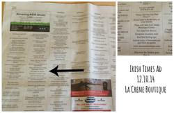 Irish Times Ad Copy La Creme Boutiqu