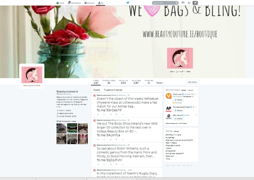 Beautycouture.ie Twitter Page