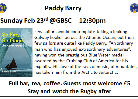 Paddy Barry at GBSC on Sunday 23rd Feb 2020, 12:30pm